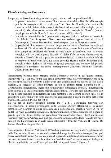 Filosofia e teologia nel Novecento - Istituto Superiore di Scienze ...