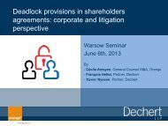 Deadlock provisions in shareholders agreements: corporate and ...