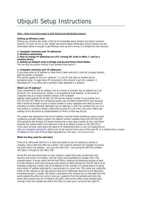 Ubiquiti Setup Instructions - Broadcast Warehouse Ltd