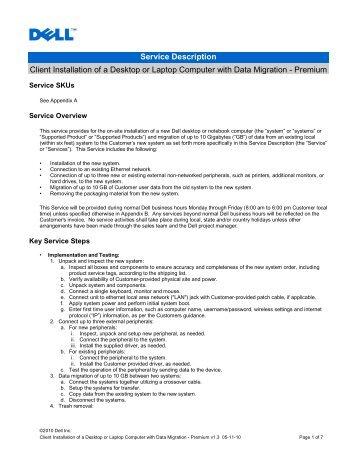 Service Description Client Installation of a Desktop or Laptop - Dell