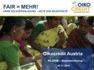 Workshop Oikocredit Lenhardt - PILGRIM-Schule