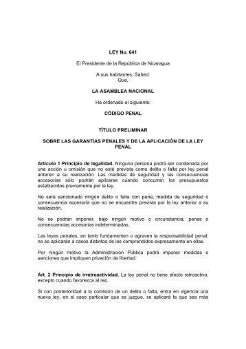 Ley Nº. 641 - Código Penal de Nicaragua. - Poder Judicial