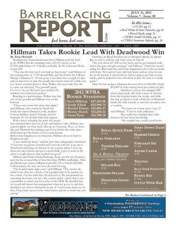 stevi hillman - Barrel Racing Report