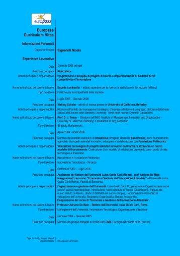 Europass Curriculum Vitae - Regione Lombardia