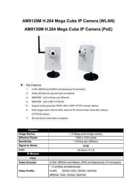 AM9120M H 264 Mega Cube IP Camera - A-mtk com