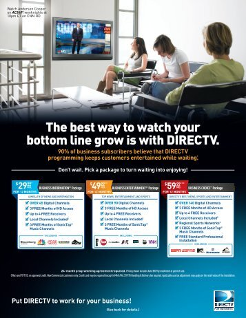 The best way to watch your bottom line grow is with DIRECTV.