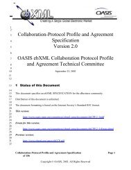 ebXML Collaboration Protocol Profile and Agreement - Oasis