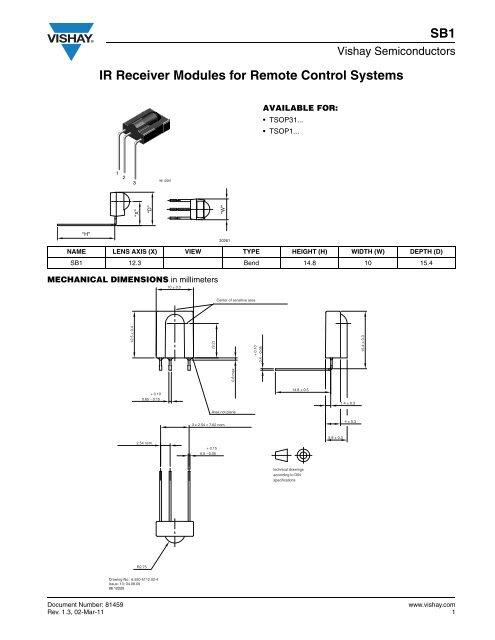 IR Receiver Modules for Remote Control Systems SB1 - Vishay