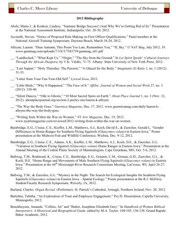 2012 Faculty/Staff Scholarship and Creativity Bibliography