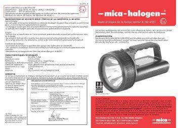 Mode d'emploi de la lampe torche IL-80 ATEX - Mica Elektro OY Ltd