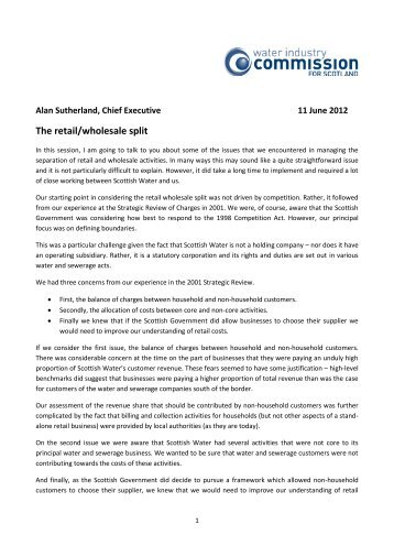 The retail/wholesale split - Water Industry Commission for Scotland