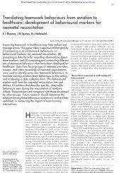 development of behavioural markers for neonatal resuscitation