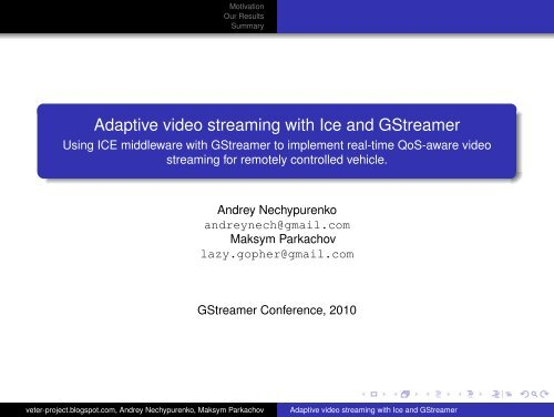 Adaptive video streaming with Ice and GStreamer - Using ICE