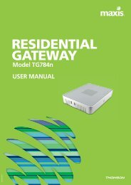 RESIDENTIAL GATEWAY Model TG784n USER MANUAL - Maxis