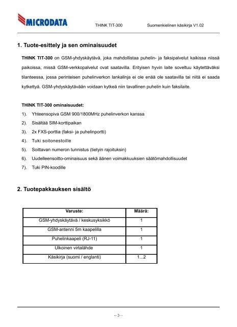 Lataa käsikirja / asennusohje - Microdata Finland Oy