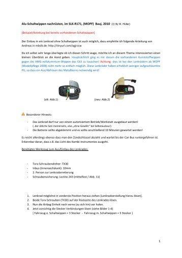 1 Alu-Schaltwippen nachrüsten, im SLK-R171, (MOPF) Bauj. 2010 ...
