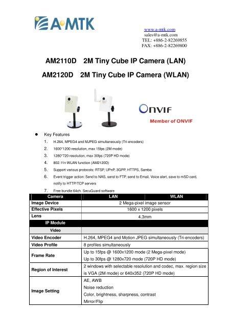 AM2110D 2M Tiny Cube IP Camera - Camere video supraveghere