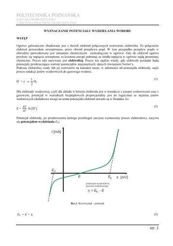 POLITECHNIKA POZNAŃSKA - Zakład Chemii Fizycznej ...