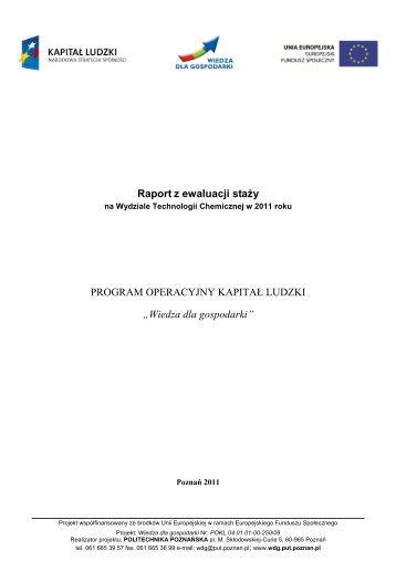 Raport z ewaluacji staży w 2011 roku - Wydział Technologii ...