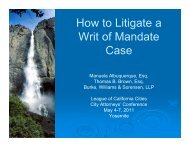 How to Litigate a Writ of Mandate Case - League of California Cities