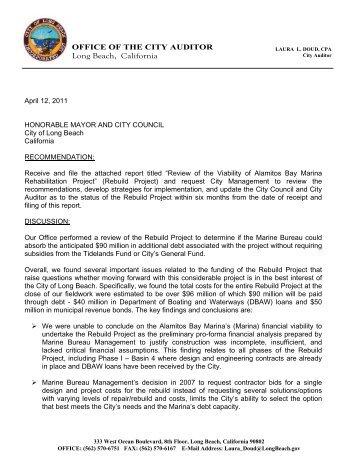 Audit of Alamitos Bay Marina Rebuild - Long Beach City Auditor