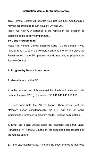 Instruction Manual for Remote Control TV Code Programming - WOW!