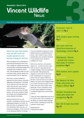 VWT_Newsletter_March 2012 - The Vincent Wildlife Trust