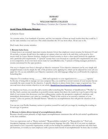 top ten resume mistakes