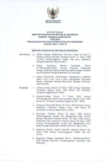 KEPUTUSAN - Departemen Kesehatan Republik Indonesia