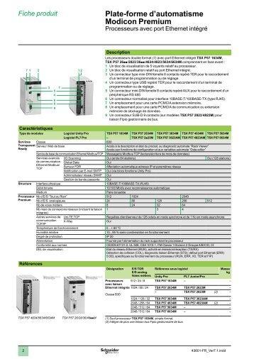 Plate-forme d'automatisme Modicon Premium 1 2 3 4 ... - e-Catalogue