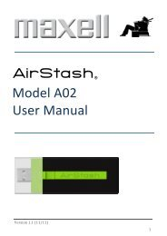 AirStash® Model A02 User Manual - Maxell