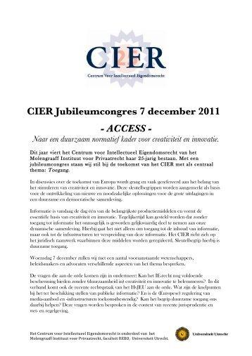 hier het CIER- jubileumcongresprogramma - Centrum voor ...