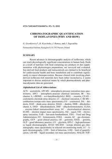 CHROMATOGRAPHIC QUANTIFICATION OF ISOFLAVONES (WHY ...