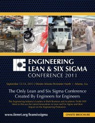 Engineering Lean & Six Sigma - Institute of Industrial Engineers
