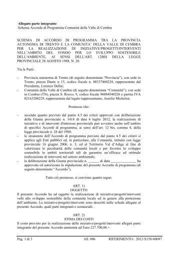 Pag. 1 di 3 All. 006 RIFERIMENTO: 2012-S158 ... - Comunità di Valle