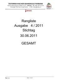 Ausgabe 4 / 2011 Rangliste Stichtag 30.06.2011 GESAMT