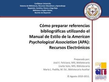APA Recursos Electrónicos - Caribbean University