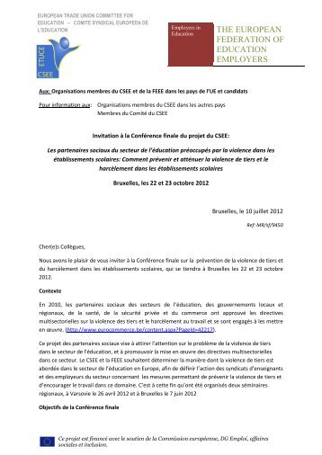 THE EUROPEAN FEDERATION OF EDUCATION EMPLOYERS
