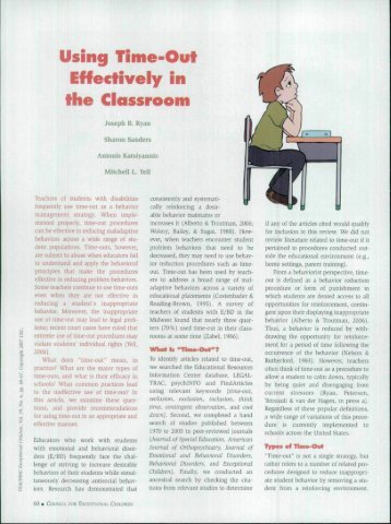 Using Time-Out Effectively in the Classroom - Oregon Department of ...