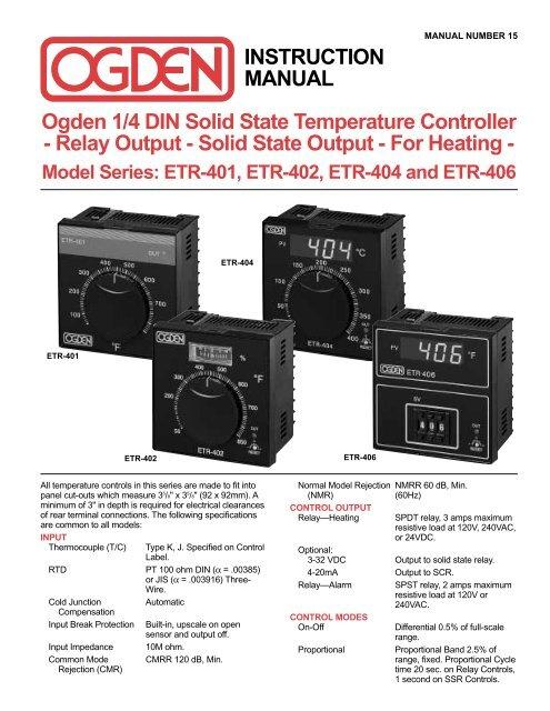 1/4 DIN Solid State Temperature Controller - Ogden ... Ogden Heaters Band Wiring Diagram on