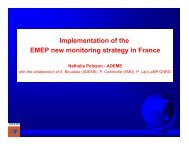 Implementation of the EMEP new monitoring strategy in France