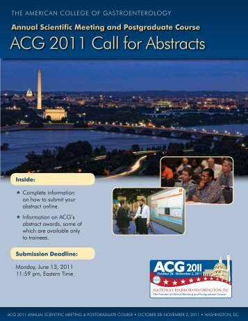 ACG 2011 Call for Abstracts - American College of Gastroenterology