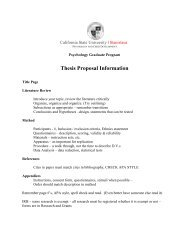 Thesis Proposal Information - Psychology and Child Development