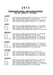 Rozpis zubní pohotovostní služby pro Dačicko: 2013