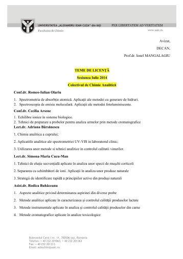 Temele de licenţă pentru sesiunea iulie 2014 pot fi consultate aici