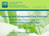 Working with Unregulated Care Providers - College of Nurses of ...