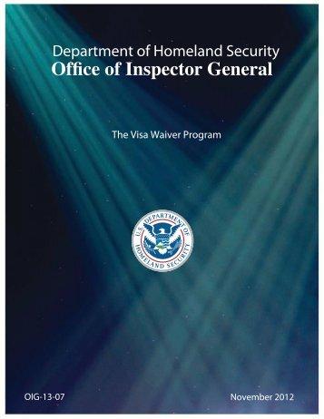 OIG – 13 – 07 The Visa Waiver Program - Office of Inspector General