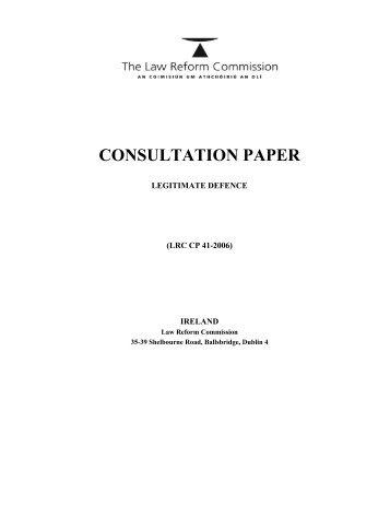 Legitimate Defence Consultation Paper - Law Reform Commission