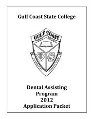 Dental Assisting Program 2012 Application Packet - Gulf Coast ...