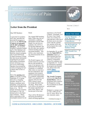 Volume 2, Issue 1 - World Institute of Pain